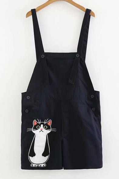 Cat Embroidered Straps Sleeveless Overall Romper