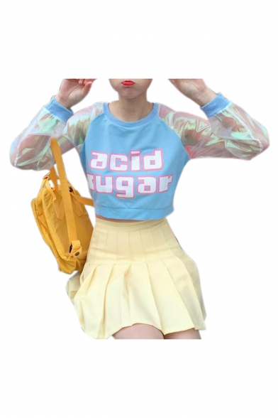 Color Patchwork Crop Long Block Printed Letter Chic Sleeve Neck Round Sweatshirt OgaxwTPqT