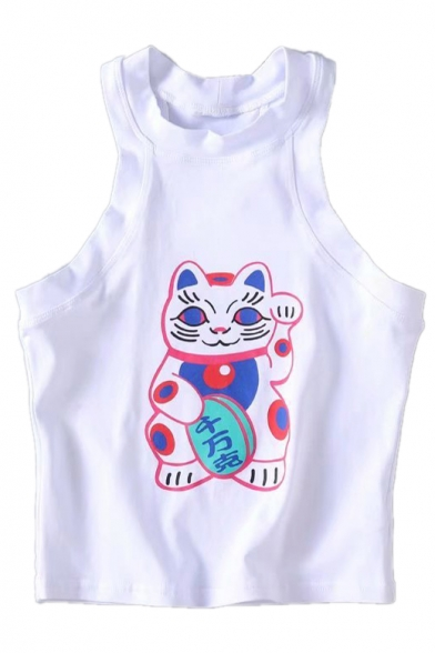 Cat Printed Tank Cute Sleeveless Round Crop Neck fCgOq
