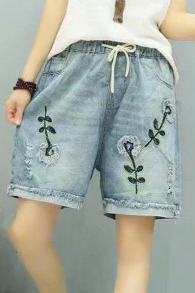 Dandelion Embroidered Drawstring Waist Straight Denim Shorts