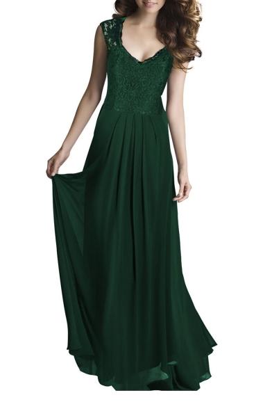 Elegant V Neck Lace Insert Sleeveless Maxi A-Line Party Dress