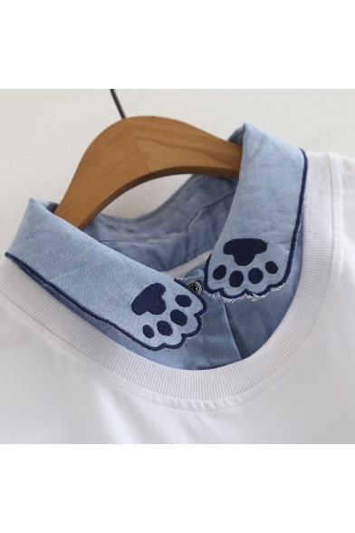 Short Fake Collar Embroidered Tee Lapel Sleeve Pieces Cat Two UrBwUqY