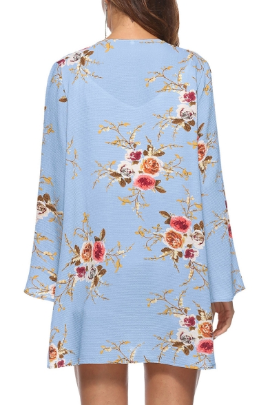Floral Printed Long Sleeve Collarless Loose Asymmetric Hem Kimono