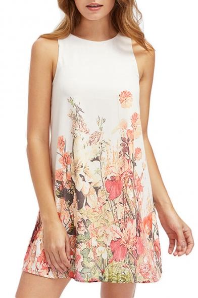 Floral Printed Round Neck Sleeveless Mini A-Line Dress
