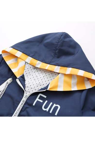 FUN Letter Chinese Printed Color Block Long Sleeve Zip Up Hooded Coat