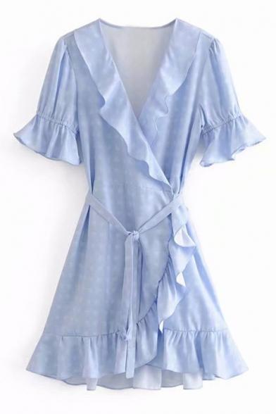 Heart Printed V Neck Short Sleeve Ruffle Detail Midi A-Line Dress