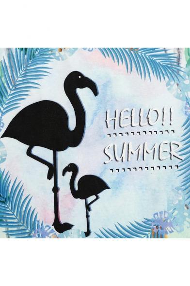 Tee Letter SUMMER HELLO Neck Sleeve Flamingo Short Round Printed Leaf zSw5qxwU