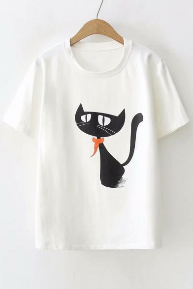 Neck Short Tee Sleeve Leisure Printed Cat Loose Round xqvZI