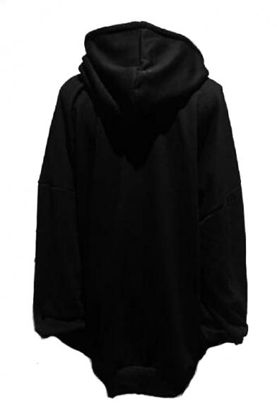 Moon Japanese Printed Long Sleeve Tunic Hoodie
