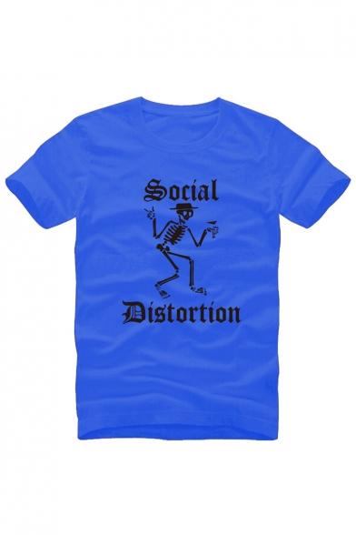 SOCIAL DISTORTION Letter Skull Printed Round Neck Short Sleeve Tee