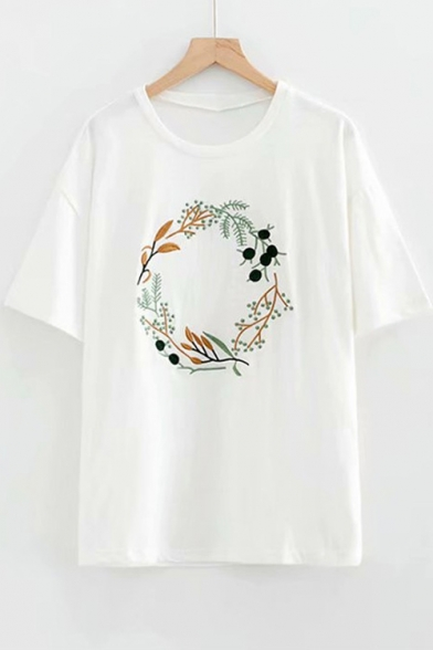 Sleeve Short Floral Embroidered Wreath Neck Tee Round w6XqvwO