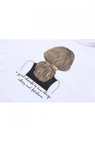 Cartoon Printed Round Sleeve Tee Girl Neck Letter Short BZnnrx