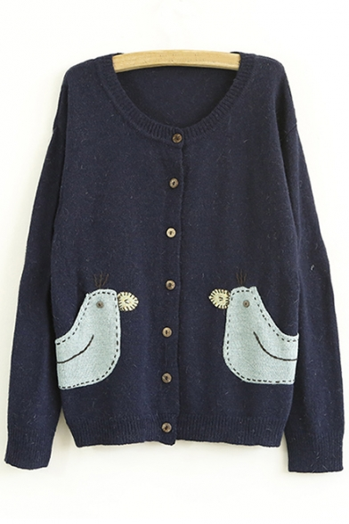 Cute Animal Pattern Applique Round Neck Buttons Down Long Sleeve Cardigan