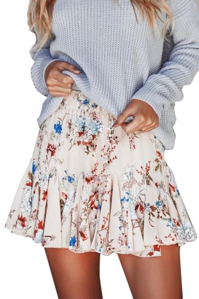 Floral Printed Elastic Waist Mini A-Line Skirt