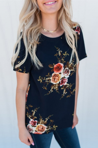 Round Short Floral Neck Sleeve Printed Leisure Tee Rqx4S5w