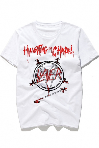 Sleeve Neck Printed Graphic CHAPEL Tee Letter Short Round HAUNTING aOqX0nT