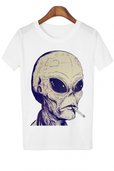 Leisure Smocking Alien Printed Round Neck Short Sleeve Tee