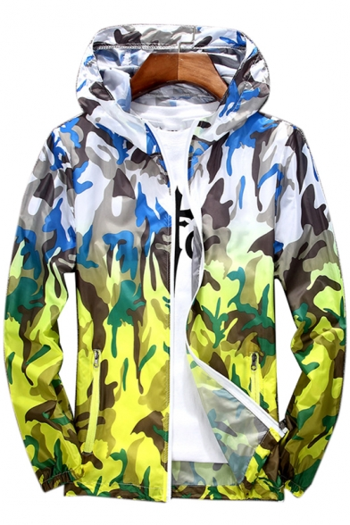 Ombre Camouflage Printed Long Sleeve Zip Up Hooded Coat