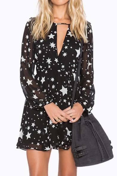 Long Star Dress Line Back Hollow Mini Sleeve V A Out Printed Neck xZZtw