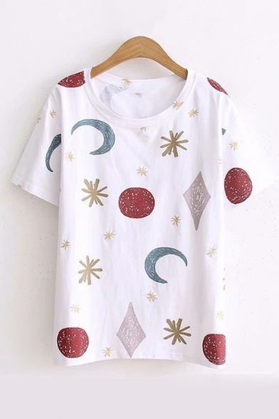Short Neck Round Printed Tee Moon Sun Sleeve tOvBFqWW