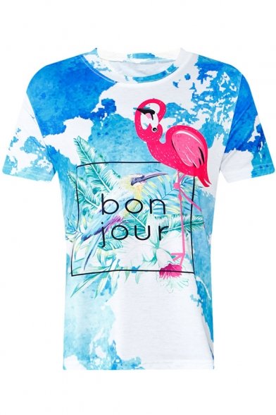 Tee Printed Letter Neck Short Round Flamingo BONJOUR Sleeve zvwHCq