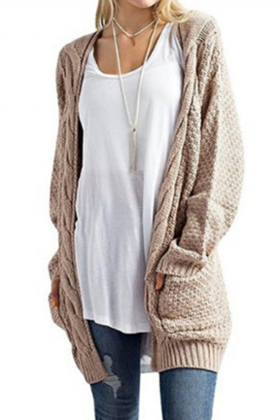 Tunic Plain Collarless Long Cable Sleeve Cardigan Knit Xq6wp1