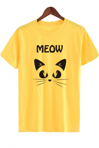 MEOW Sleeve Round Tee Neck Printed Cat Short Letter PdSqYP