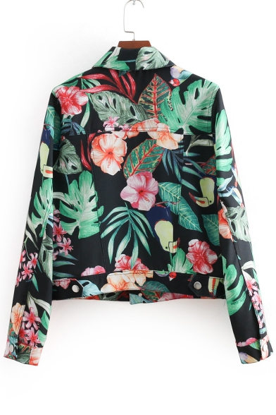 Chic Floral Printed Lapel Collar Buttons Down Long Sleeve Jacket