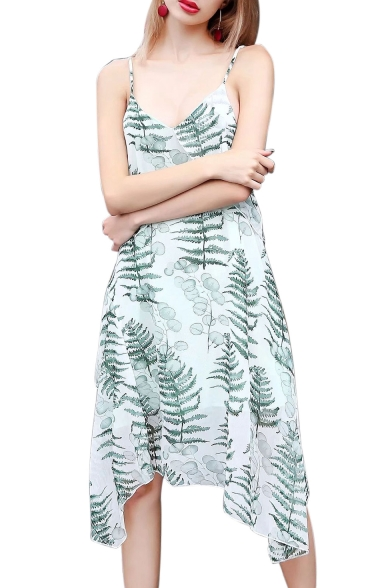 Chic Leaf Printed Spaghetti Straps Sleeveless Midi Asymmetric Hem Dress