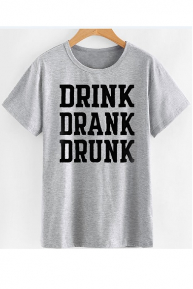 DRANK DRINK Letter Tee Printed Neck Sleeve Round Short dRROnwB
