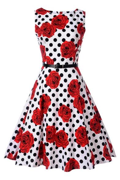 Floral Polka Dot Printed Round Neck Sleeveless Midi A-Line Dress