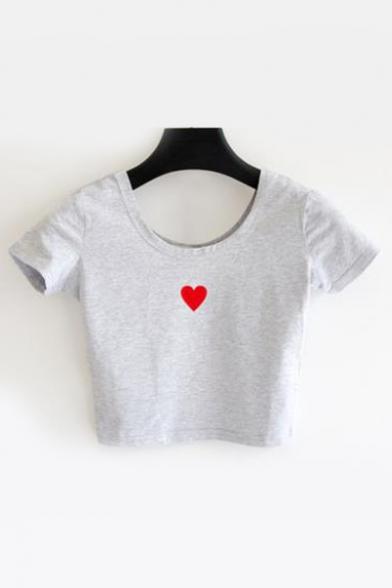 Round Crop Printed Tee Sleeve Heart Slim Short Neck 65wx1OY