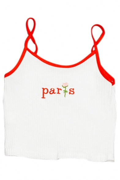 Crop Contrast Floral Sleeveless Cami Trim Letter PARIS Straps Embroidered Spaghetti 8HtFUxqw