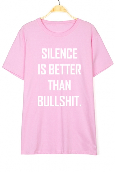 SILENCE Letter Printed Round Neck Short Sleeve Tee