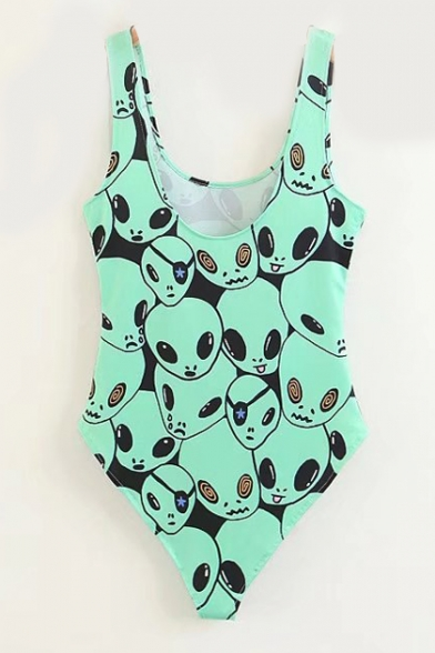 Printed Bodysuit Neck Alien Round Sleeveless Slim a1cvaqyd