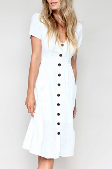 Buttons Down V Neck Short Sleeve Plain Midi A-Line Dress