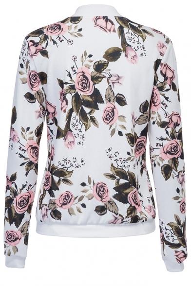 Floral Printed Zip Up Stand Up Collar Long Sleeve Baseball Jacket