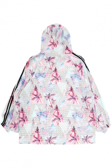 Geometric Floral Printed Contrast Striped Long Sleeve Hooded Sun Proof Hooded Coat