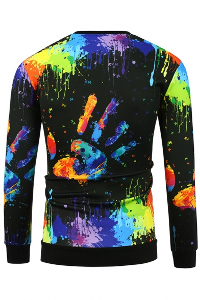 Graffiti Sweatshirt Neck Sleeve Long Round Hand Printed fwTqxfPZ