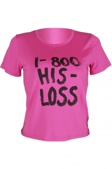 HIS Tee Short Round Letter Neck Printed LOSS Sleeve cUz7Wc