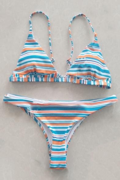 Holiday Spaghetti Sleeveless Printed Striped Straps Bikini vqZrvxSw