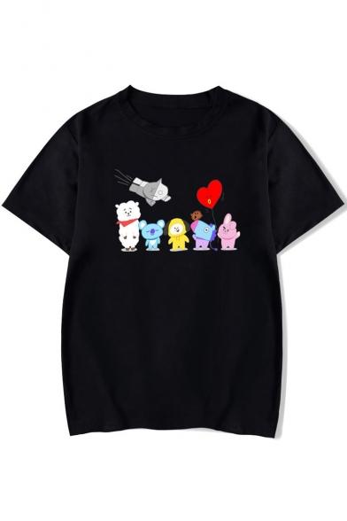 Lovely Cartoon Animal Heart Printed Round Neck Short Sleeve Tee