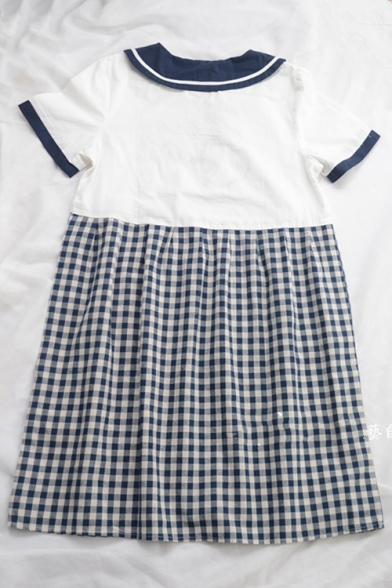 Dress A Line Midi Collar Printed Plaid Short Color Block Navy Sleeve vqF80