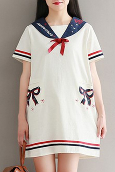 Mini Printed Navy Striped Dress Bow Collar Line Sleeve Contrast Short A ATPAY0