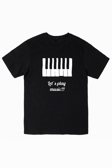 Piano Round Printed Short Tee Sleeve Letter Neck OqrnOg