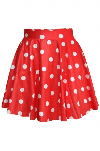 Polka Dot Printed Round Neck Short Sleeve Elastic Waist Mini A-Line Skirt