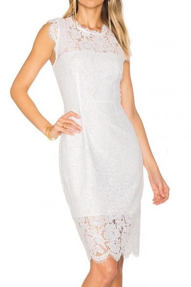Round Lace Midi Sleeve Plain Short Pencil Dress Neck ORTOxfq6