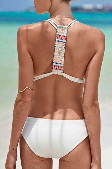 Straps Swimwear Braid Spaghetti One Hollow Embellished Out Piece Printed Tribal 1nng4zx7