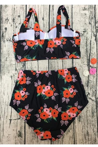 Sleeveless Bottom Waist Printed Floral Bikini High Spaghetti Straps Pqz1waa