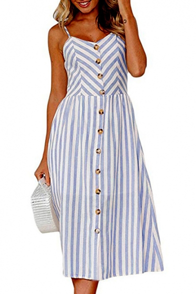 Dress Printed Buttons line Straps A Maxi Striped Down Spaghetti Sleeveless 1x4wppUzq